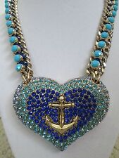NWT Auth Betsey Johnson Anchors Away Pave Blue Large Heart Statement Necklace