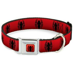 Spider-Man Logo Repeat Red & Black Dog Collar by Buckle-Down