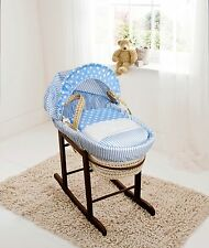 Blue Spots & Stripes Palm Moses Basket on Deluxe Rocking Walnut Stand