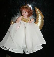 """MOON ANGEL DOLL Ornament in White on Gold Moon 6"""" 11316 Bin#1"""