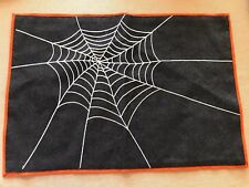 Crate & Barrel Spooky Spider Placemat Orange Spiderweb Web Halloween Decor