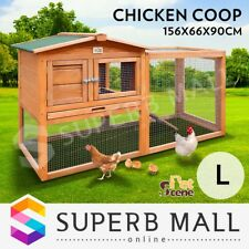 Chicken Coop Ferret Guinea Hutch Hen Pig Rabbit Cage House 2 Storey Wooden