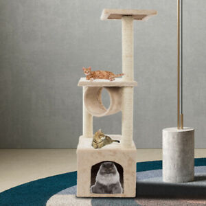 CAT TREE SCRATCHING POST PET BED ACTIVITY CENTRE PLAY TOY SISAL ROPE BEIGE