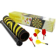 2 IN 1 DOUBLE SIDED HANGING MAGNETIC ROLL UP DART BOARD GAME 6 SAFETY DARTS