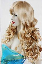 Long Blonde Hand Made Curly Wigs Kanekalon synthetic Hair Perruque 86#613