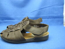 Ladies Brown Ankle Strap Sandals Sz 7.5 Hook Loop Closure Cruise Wear Shoes