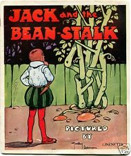 JACK and the BEAN STALK Linen Cloth Book GORDON ROBINSON Illus. Circa 1930s