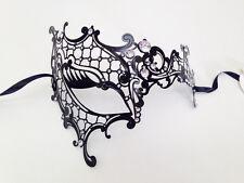 Black Laser Cut Metal Crystals Venetian Masquerade Ball Party Phantom Opera Mask