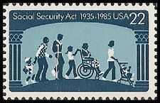 US 2153 Social Security Act 50th Anniversary 22c single MNH 1985