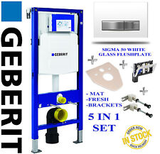 Geberit UP320 1.12m WC TOILET FRAME +SIGMA GLASS EFFECT PLATE BRACKETS FRESH MAT