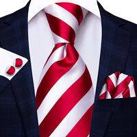 Herren Seide Krawatte Set Mit Einstecktuch Gestreift Rot Weiß Krawatte Klassisch