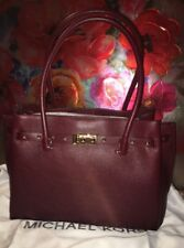 New With Tags Michael Kors Addison Tote Large Oxblood Leather Shoulder Bag