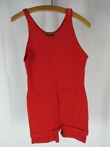 Vtg 1920s 30s Bradley Knitting Mills Red Wool Swimsuit W/ Star Button Fancy! 20s