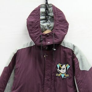 VTG Anaheim Mighty Ducks Shain Parka Puffer Jacket Youth Large 90s NHL Insulated
