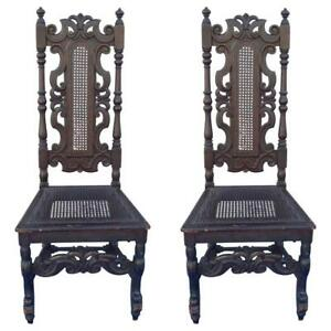 Pair of English William & Mary Style Banister Back Hall Chairs, REDUCED
