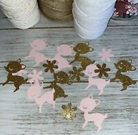 Baby Deer Confetti  Birthday Party Shower Decorations - Pink and Gold Glitter