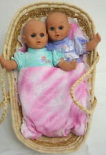 Lissi Baby Dolls-2, Carrier Moses Basket Pink Blanket-Set of 4 Pieces