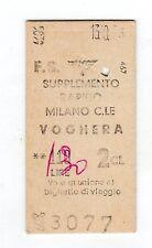 BIGLIETTO TICKET EDMONSON   supp. rapido  MILANO  C.LE  VOGHERA  LIRE  130