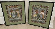 Asian Indian Hand Painted Pichwai Lord Radha Krishna & Women Framed Art Very Old