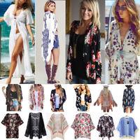 Women Boho Long Loose Flowy Shawl Kimono Cardigan Coat Beach Cover Up Top Blouse