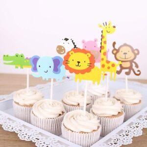 OuMuaMua 38 Jungle Safari Animal Cupcake Toppers Picks Zoo Animals Cake Decorate