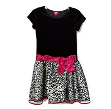 Pinky Party Holiday Tulle Tutu Dress Girls Size 14 Black White Pink Bow Leopard