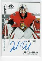 19/20 SP AUTHENTIC AUTOGRAPHED FUTURE WATCH JOEY DACCORD #158 - 607/999