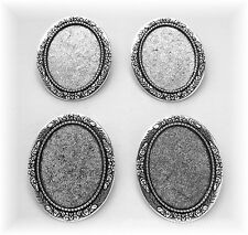4 Antiqued Silvertone Floral (Look) 40mm x 30mm CAMEO Pin Brooch Frames Settings