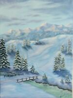 "Art16""/12""oil painting, black friday sale,winter, landscape, mountains."