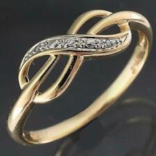 Low Everyday Budget 9k Solid Yellow GOLD & # DIAMOND INFINITY ETERNITY RING Sz O