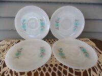 Set of 4 Vintage Fire King White Milk Glass Bonnie Blue Flowers Saucer Plates