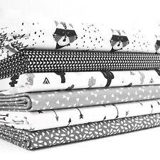 FQ Bundle-Blanco y Negro Divertido-Salvaje Oeste mapache cactus y Flechas x 6-algodón