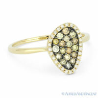 0.37 ct Round Cut Fancy Diamond Pave Right-Hand Ring in 14k Yellow & Black Gold