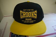 Can't Stop the Crooks Snapback Adjustable Cap Black/Yellow Brand New with Tags