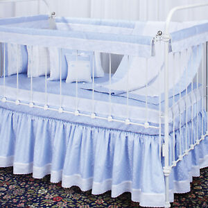 Crib Guard Rail Cover in blue with Train embroidery for 1 long side of crib, NWT