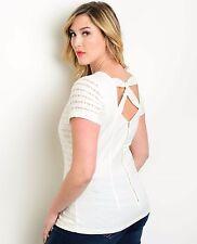 Size 2XL SHIRT TOP White WOMENS JUNIORS PLUS Short Sleeves STRETCH Marineblu NEW