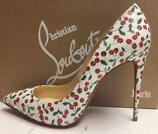 Christian Louboutin Pigalle Follies 100 Caviar Latte Cherry Heels Pumps Shoes 38