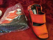 Euro Club red platform wedge sandal heels size 7 B nwob