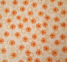 Petals by Quilting Treasures BTY Floral Calico Peach Coral Green on Pale Beige