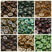 CHOOSE COLOR! 10pcs Czech Glass Table Cut Beads Oval 14x10mm Kiwi