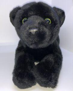 """14"""" Toys R Us Animal Alley Black PANTHER w/Green Eyes CAT WILDLIFE PLUSH"""