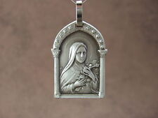 Vintage Catholic St. Therese Pendant Medal Signed JB France