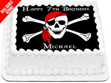 Pirate Skull & Bones Edible Icing Cake Image Personalised Birthday Party Topper