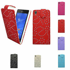 FOR SONY XPERIA Z3 GLITTER IN VARIOUS COLOURS PU LEATHER FLIP CASE COVER