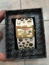Ed Hardy Love Child White Gold Studded Gem Diamond Watch Japan Movement Leather
