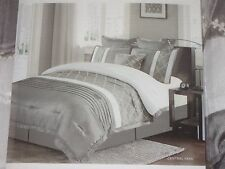 King 7 Pc. Comforter Bedding Ensemble Gray White Shams Dust Ruffle Pillows NEW!