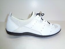 Ecco Size 5 to 5.5 BLUMA TOGGLE FLAT White Leather Sneakers New Womens Shoes
