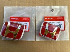 96-00 Honda Civic Ek Jdm Red H Type R - Front Rear Emblem 2Pcs Set 92-95 Accord