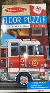 "NIB Melissa & Doug ""FIRE TRUCK"" 36 Pc. FLOOR PUZZLE, Ages 3+ ~ Large 34"" x 22.7"""