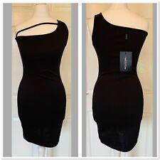 Black PLT Pretty Little Thing One Shoulder Bodycon Dress Size 10 (5891)